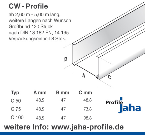 awd profile f r den innenausbau jaha kompetenz im innenausbau trockenbau brandschutz. Black Bedroom Furniture Sets. Home Design Ideas